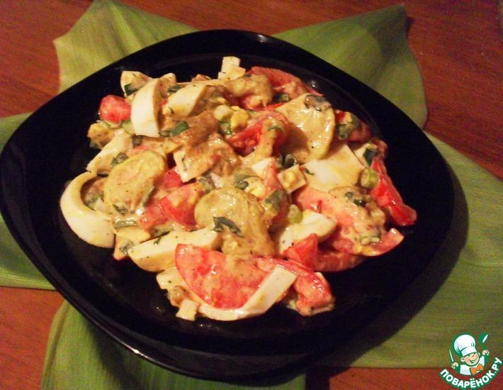 Рецепт: Салат с жареными кабачками