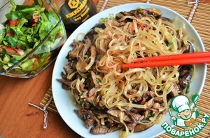 Stir fry with rice noodles