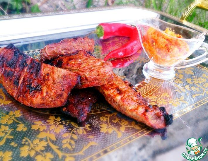 Рецепт: Шашлык из говядины с арахисовым соусом