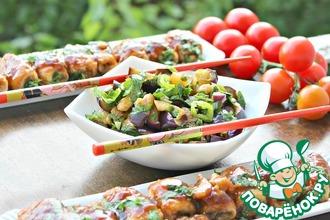 Рецепт: Салат из баклажанов и рулетики Восток