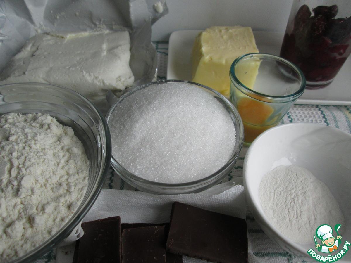 Творожное печенье с вишней и шоколадом