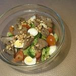 Тёплый салат с брокколи и куриной печенью