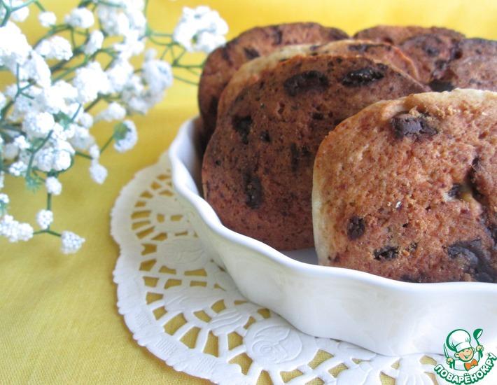 Рецепт: Творожное печенье с вишней и шоколадом