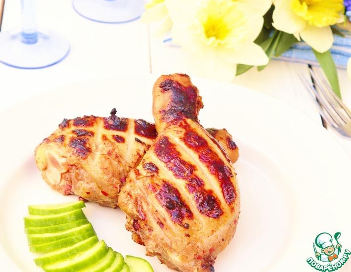 Рецепт: Медово-коньячная курица на мангале