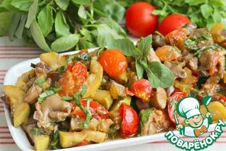 Рецепт: Вкуснейшая закуска с баклажаном и грибами