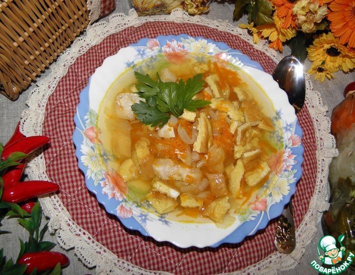 Рецепт: Куриный суп с яичными блинчиками Моментальный