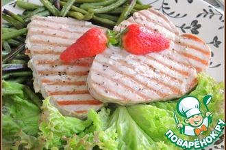 Рецепт: Тунец-гриль с зеленой фасолью