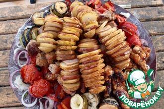 Рецепт: Шашлык из картофеля с беконом