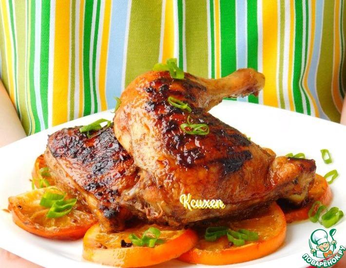 Рецепт: Куриные окорочка-гриль с апельсинами