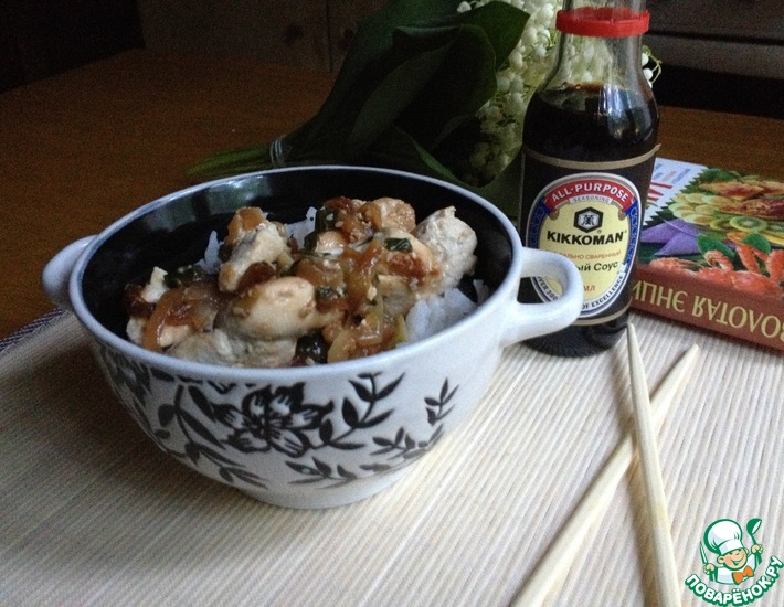 Рецепт: Куриное филе с соевым соусом и луком