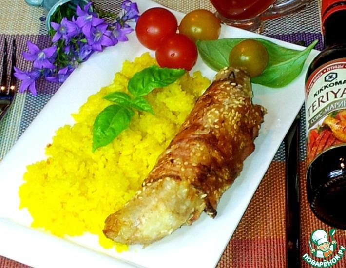 Рецепт: Банан в ветчине с жёлтым рисом