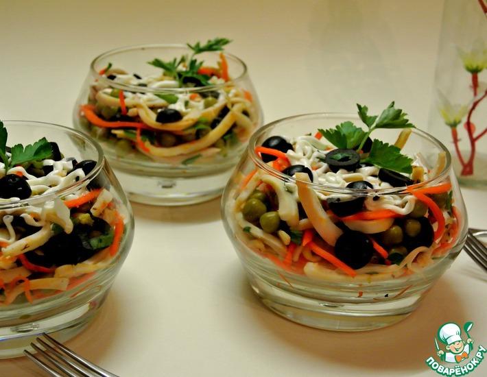 Рецепт: Салат Деликатесный с кальмарами