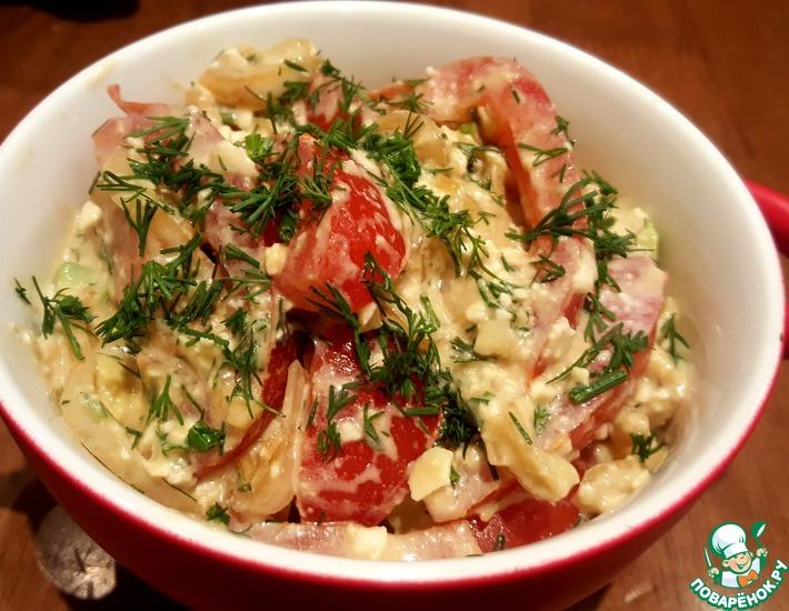Рецепт: Помидорный салат с сыром и авокадо