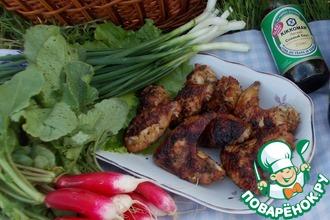 Рецепт: Крылышки куриные в ткемали соусе с тархуном