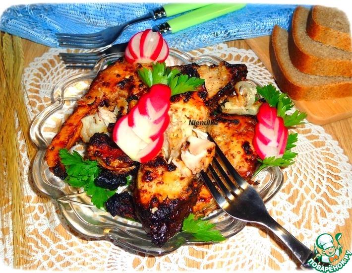 Рецепт: Рыбный шашлык в ореховой крошке