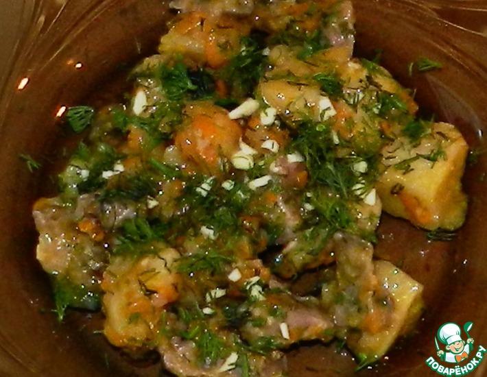 Рецепт: Тушеный картофель с куриными желудками