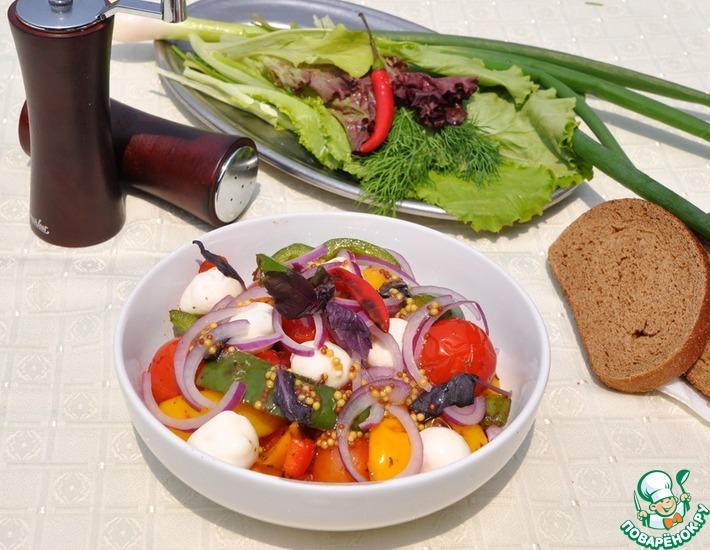 Рецепт: Салат-гриль из перцев и моцареллы