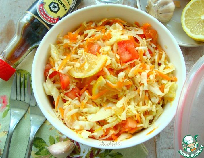 Рецепт: Салат из молодой капусты с помидором
