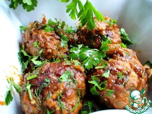Тефтели, запеченные в баклажанном соусе – кулинарный рецепт
