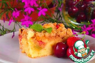 Рецепт: Пирог с ревенем и яблоками