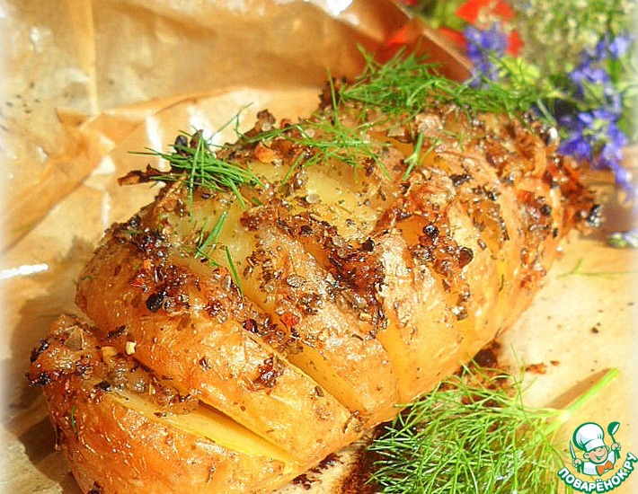 Рецепт: Запеченный картофель с салом на пикник