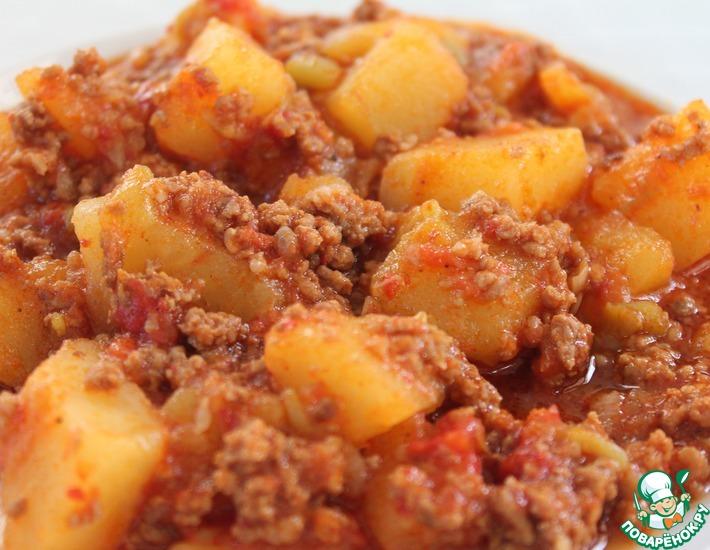 Рецепт: Картофель с мясным фаршем