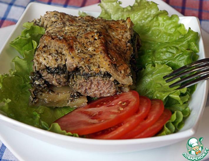 Рецепт: Запеканка с фрикадельками, баклажанами и шпинатом