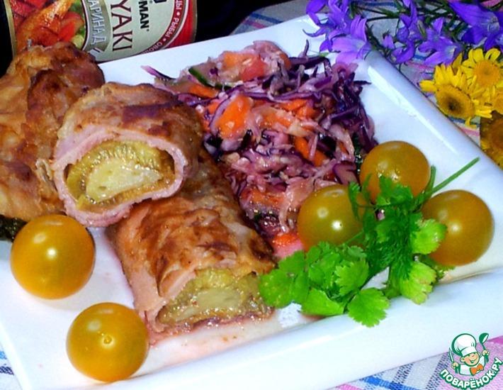 Рецепт: Рулетики из кабачка и ветчины с сыром