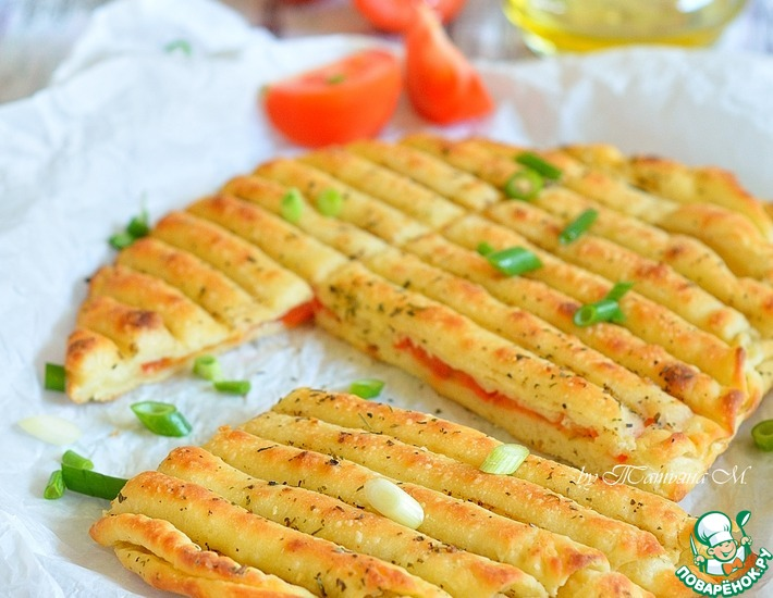 Рецепт: Гриль-лепешки с помидорами и чесноком