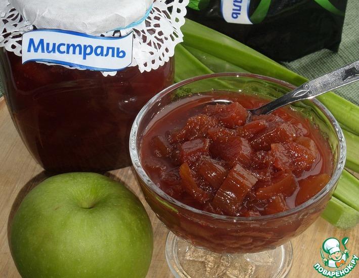 Рецепт: Варенье из ревеня и яблок
