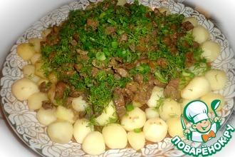 Рецепт: Горячее из бараньих субпродуктов Куырдак