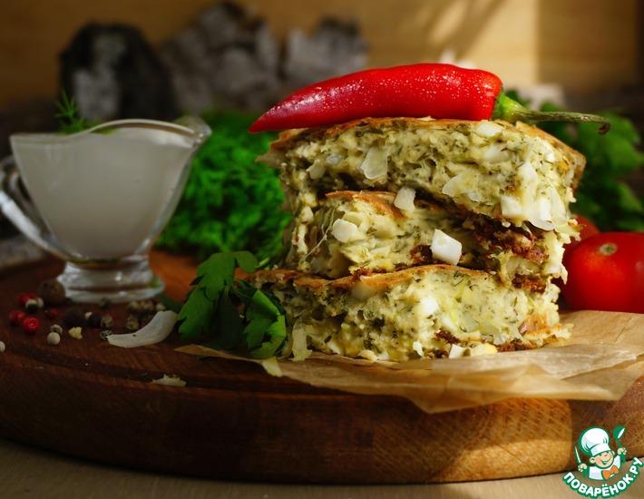 Рецепт: Пирог ленивый с капустой и яйцами