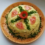 Салат-торт с куриным фаршем