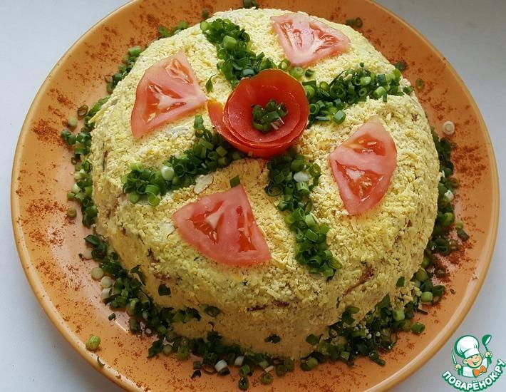 Рецепт: Салат-торт с куриным фаршем