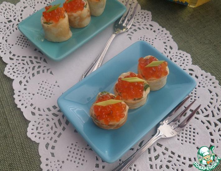Рецепт: Блинчики с творожным сыром и икрой