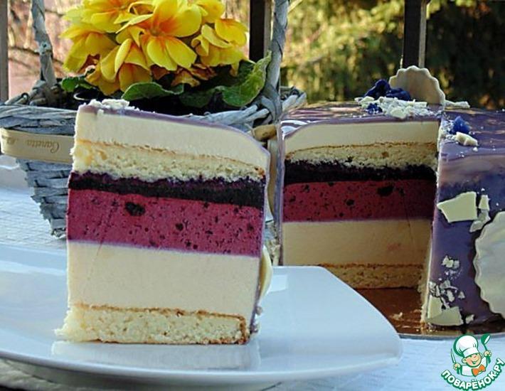 Рецепт: Фиалковый торт-мусс Весна в Тулузе