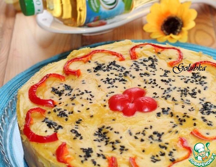 Рецепт: Блинчатый пирог-рулет «Гостевой»