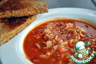 Рецепт: Суп с рисом и маринованными помидорами