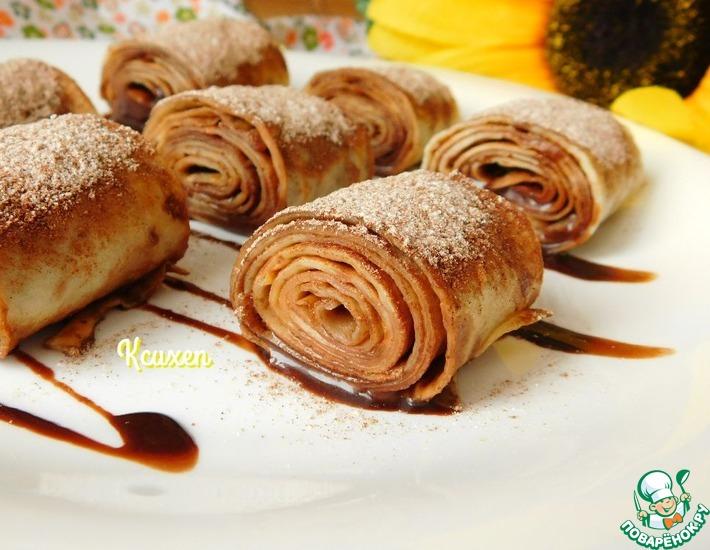 Рецепт: Блинчики с шоколадно-малиновым соусом
