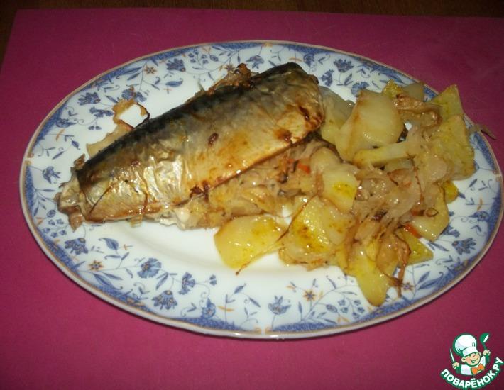 Рецепт: Рыба с квашеной капустой и картофелем