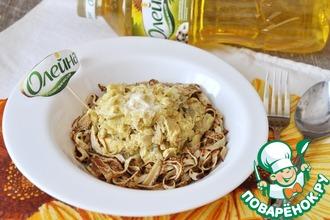 Рецепт: Блинные спагетти со сливочно-куриным соусом