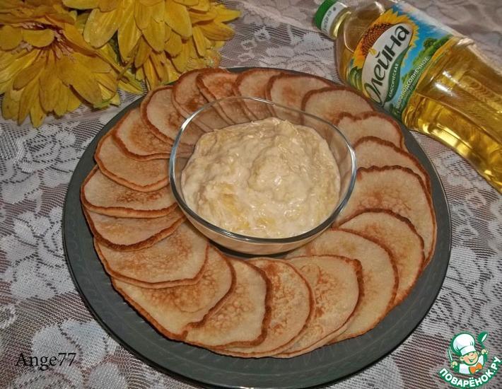 Рецепт: Кокосовые оладьи с творожно-цитрусовым кремом