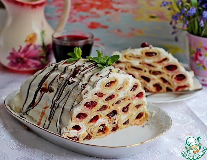 Рецепт: Блинный торт с вишней