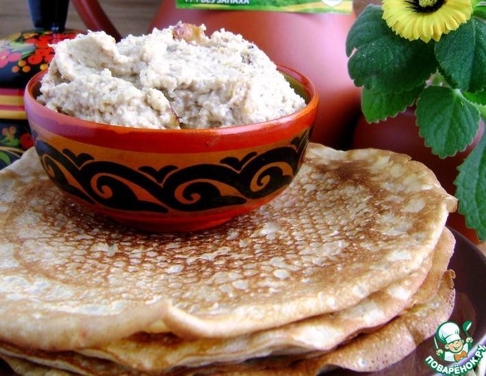 Рецепт: Блины овсяные с пикантным яблочным маслом