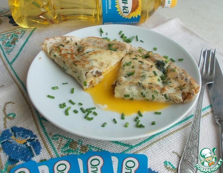 Рецепт: Блины с яичницей и шампиньонами