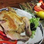 Курица, фаршированная блинчиками