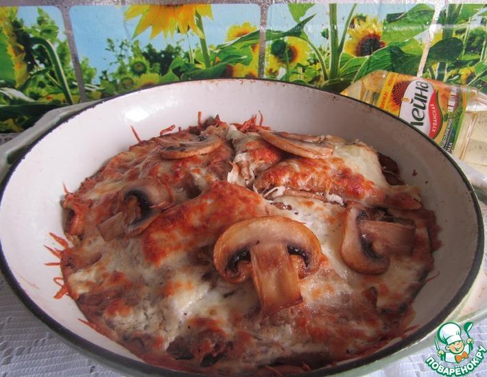 Рецепт: Запеченные блины с грибами и сыром