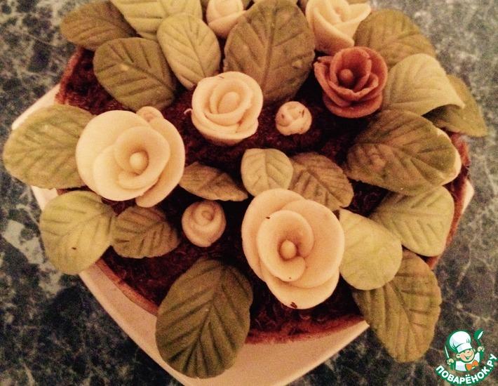 Рецепт: Торт Цветы в горшочке