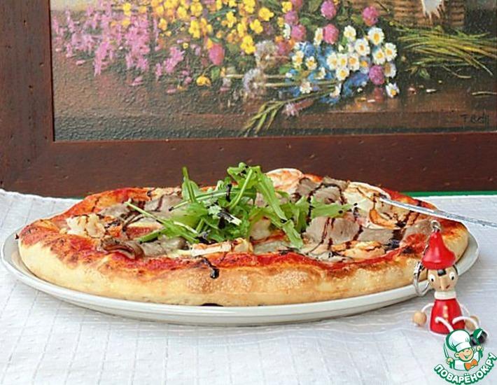 Рецепт: Пицца с ростбифом и креветками