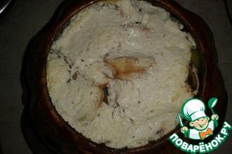 Рецепт: Картофель в горшочке с курицей и грибами